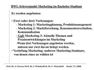 BWL-Schwerpunkt Marketing im Bachelor-Studium