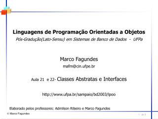 Linguagens de Programação Orientadas a Objetos