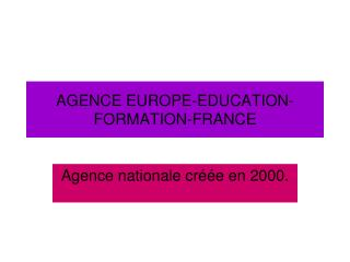 AGENCE EUROPE-EDUCATION-FORMATION-FRANCE