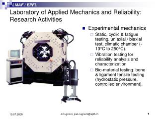Laboratory of Applied Mechanics and Reliability: Research Activities