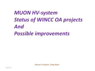 MUON HV-system Status of WINCC OA projects And  Possible improvements