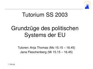 Tutorium SS 2003  Grundz ge des politischen Systems der EU