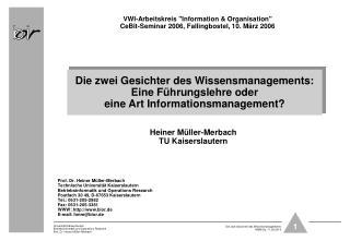 "VWI-Arbeitskreis ""Information & Organisation"" CeBit-Seminar 2006, Fallingbostel, 10. März 2006"