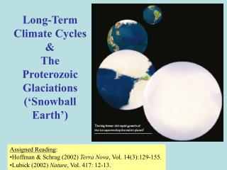 Long-Term Climate Cycles &  The Proterozoic Glaciations ('Snowball Earth')