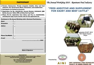 ORGANIZED BY: Department of  Nutrition and Feed Technology , Faculty of Animal Science, IPB and