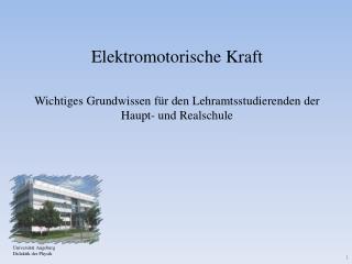 Universit�t Augsburg Didaktik der Physik