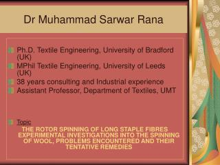 Dr Muhammad Sarwar Rana