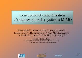 Conception et caractérisation d'antennes pour des systèmes MIMO