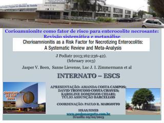 Corioamnionite como fator de risco para enterocolite necrosante: Revisão sistemática e metanálise