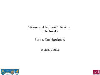 Pääkaupunkiseudun 8. luokkien palvelukyky  Espoo, Tapiolan koulu