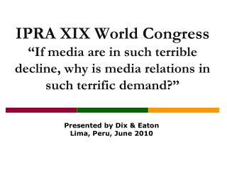 IPRA XIX World Congress