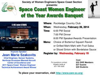 Where :  Rockledge Country Club When :  Wednesday,  February 26, 2014 Time :    6:00 PM Social