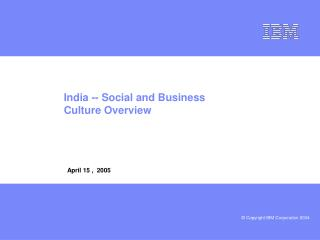 India -- Social and Business Culture Overview
