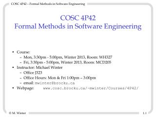 COSC 4P42 Formal Methods in Software Engineering