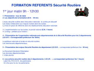 FORMATION REFERENTS S�curit� Routi�re