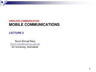 Wireless Communication Mobile Communications  Lecture 5