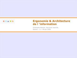 Ergonomie & Architecture de l'information