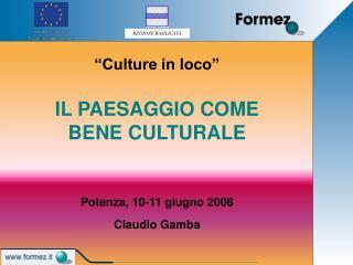 Culture in loco    IL PAESAGGIO COME BENE CULTURALE