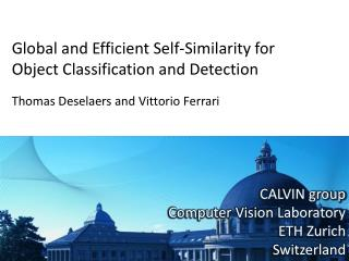 Global and Efficient Self-Similarity for  Object Classification and Detection