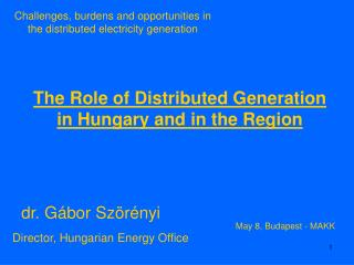 The Role of Distributed Generation in Hungary and in the Region