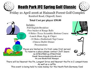 Heath Park JFC Spring Golf Classic
