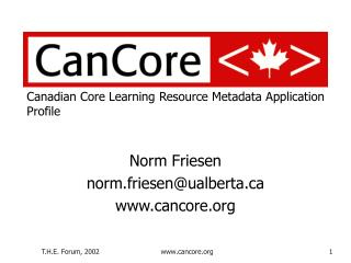 Canadian Core Learning Resource Metadata Application Profile