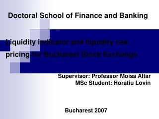 Supervisor: Professor Moisa Altar MSc Student: Horatiu Lovin Bucharest 2007