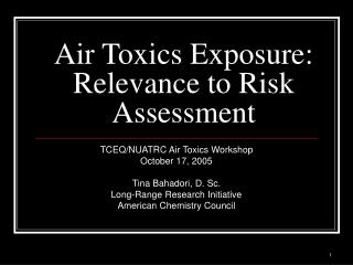 Air Toxics Exposure: Relevance to Risk Assessment