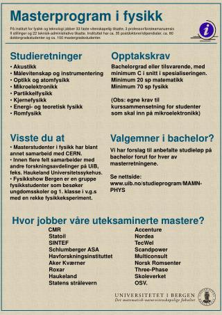 Masterprogram i fysikk