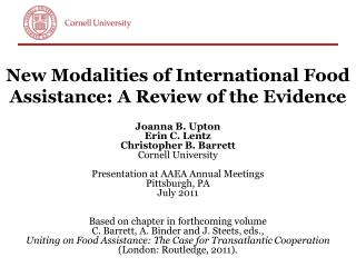 New Modalities of International Food Assistance: A Review of the Evidence