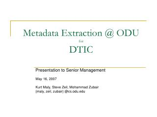 Metadata Extraction @ ODU for DTIC