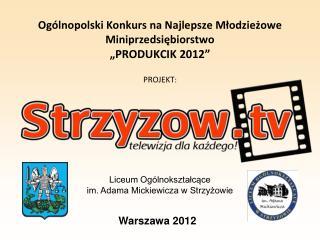 """Ogólnopolski Konkurs na Najlepsze Młodzieżowe  Miniprzedsiębiorstwo """"PRODUKCIK 2012"""" PROJEKT :"""