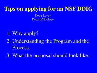 Tips on applying for an NSF DDIG