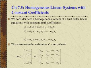 Ch 7.5: Homogeneous Linear Systems with Constant Coefficients
