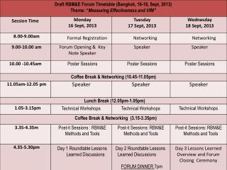 forum timetable