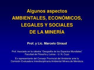Algunos aspectos AMBIENTALES, ECONÓMICOS, LEGALES Y SOCIALES  DE LA MINERÍA