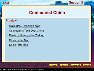 Preview Main Idea / Reading Focus Communists Take Over China Faces of History: Mao Zedong