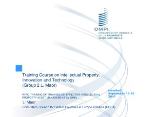 Training Course on Intellectual Property, Innovation and Technology (Group 2 L. Maor)