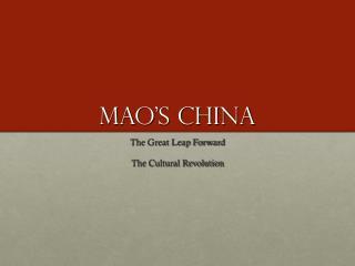 Mao�s China