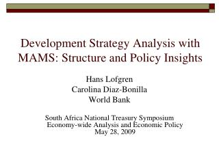 Development Strategy Analysis with MAMS: Structure and Policy Insights