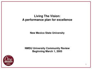 Living The Vision: A performance plan for excellence   New Mexico State University     NMSU University Community Review