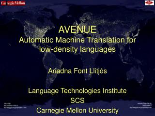 AVENUE Automatic Machine Translation for low-density languages