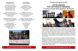 Domingo 26 de agosto de 2012 DIA DE ORACIÓN POR LOS PUEBLOS INDÍGENAS
