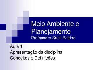 Meio Ambiente e Planejamento Professora Sueli Bettine