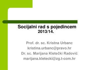Socijalni rad s pojedincem 2013/14.