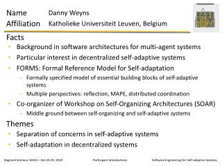 Separation of concerns in self-adaptive systems Self-adaptation in decentralized systems