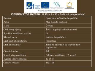 IDENTIFIKÁTOR MATERIÁLU: EU - 6 – 30 – Světové hospodářství