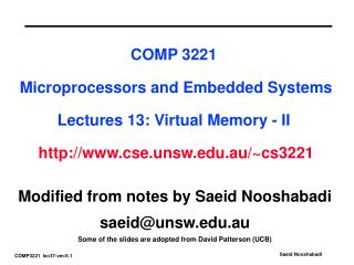 Modified from notes by Saeid Nooshabadi saeid@unsw.au