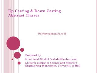 Up Casting & Down Casting Abstract Classes