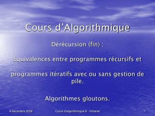 Cours d'Algorithmique